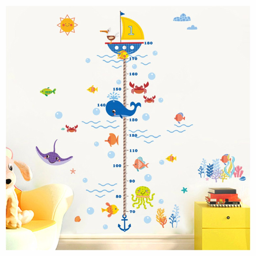 Wondrous marine world growth chart wall decal wall height wondrous marine world growth chart wall decal wall height measurement boys girls amipublicfo Gallery