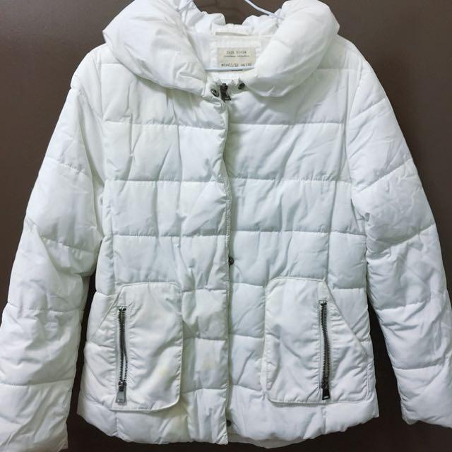 Zara童裝152cm(11-12歲)全白厚羽絨外套 童裝外套
