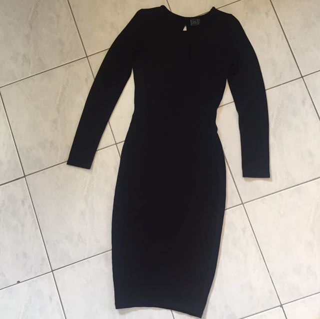 Zara Open Back Long Sleeve Midi Dress