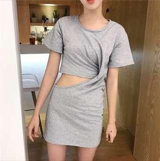 連身短袖素色露腰裙
