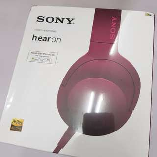 Sony MDR-100AAP Over-Ear Cellphone Headphones with Mic (Pink)
