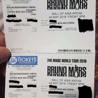 (2) Bruno Mars 24k Magic Tickets ; Upper. Row A. May 4 2018