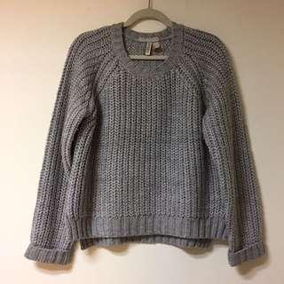 H&M 灰 粗毛線 毛衣