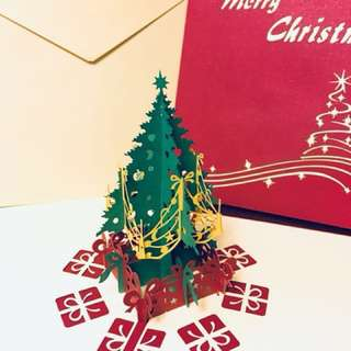3D Laser Cut Christmas Pop up Cards (15*15cms)