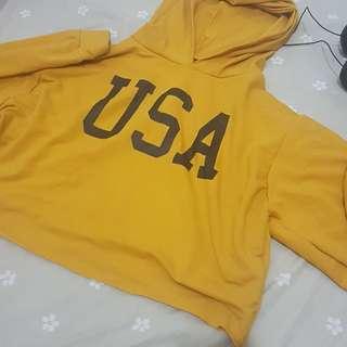 Mustard cropped hoodie