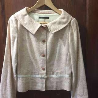 TAHARI Peach Tweed Bow Trimmed 60's Style Jacket Sz 4