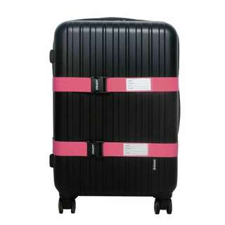 2x Pink Luggage Straps with Name Card