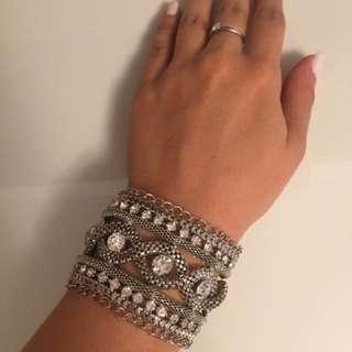 Silver and diamond cuff bracelet