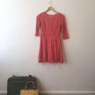 60's style 3/4 sleeve pink dress