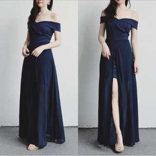 一字領雪紡連身裙(4色)-OPD12801