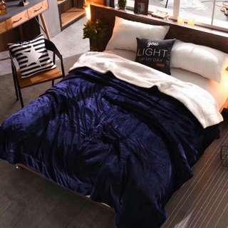 🚚 純色雙層加厚法蘭絨羊羔毯(品味藍)