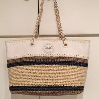 New Tory Burch Marion Leather Tote in White 60% OFF