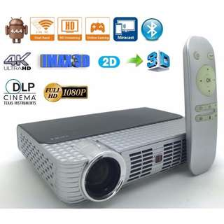 Christmas Sales New 5W,DLP smart 3D Projector,WIFI Android 4.44,1800 lumens,1280x800pixels with free shutter 3D glasses,easy 2D to 3D KODI installed and ready to watch free movies & tv drama