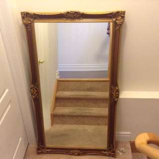Large wood framed mirror 144 cm. by 80 cm
