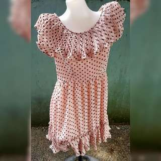Pink offshoulder polkadots Dress