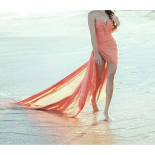 Long Split coral dress
