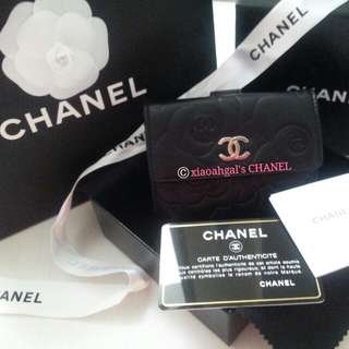 🔴ONLY FOLLOWER CAN GET $300!!🔴🐰AUTHENTIC BRAND NEW IN BOX & RECEIPT🐰 LIMITED EDITION BLACK CAMEILLIA CHANEL Wallet (8 Cards, 1 Coin, 1 Note Slot -Chanel Original Box, Protective Paper --Bought in EUROPE) No Pet No Smoker Clean House