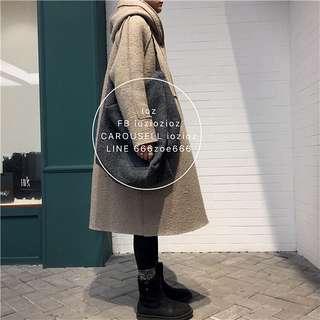ioz 簡約寬鬆羊毛絨連帽大衣外套 秋冬