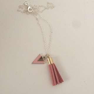 Duck pink tassel necklace