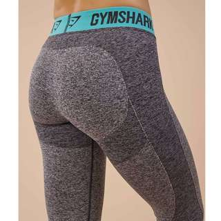 Brand new GYMSHARK WOMENS FLEX LEGGINGS CHARCOAL MARL/PALE TURQUOISE
