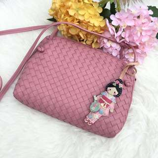 ⚡️Save 50%!⚡️ Full Set with Reebonz Receipt! Excellent Condition Bottega Veneta Nodini Shoulder/Crossbody Bag in Light Pink Woven Lambskin
