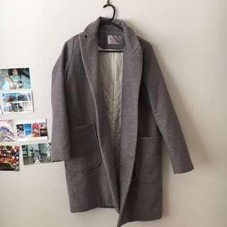 Grey lapel korean fashion coat