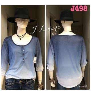 J498全新美國Levi's 漸層復古藍百搭七分袖全棉踢美式休閒 質感超好推薦t-shirt