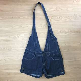 (free nm) OSMOSE DENIM OVERALL SHORTS