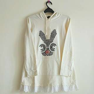 IMPORT CREAM BUNNY HOODIE WITH POCKET