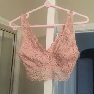 Supre Nude Pink Lace Bralette Crop Top XS Great Condition