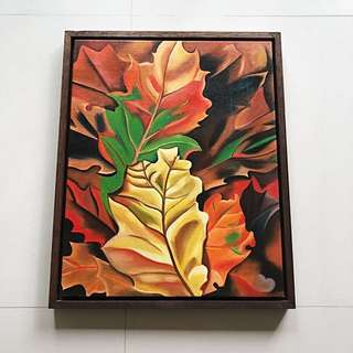 Oil on canvas painting with frame