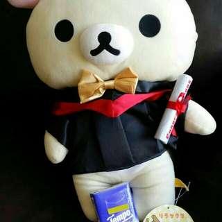 Brand new, Rilakkuma graduation version 16 inch, X L, 全新正版鬆馳熊畢業版16吋,鬆弛熊,加大,著精美禮服