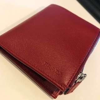 PRADA double zip saffiano leather wallet unisex