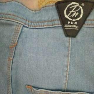 Celana jeans pun higwaist cutbray biru wash