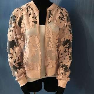 Pink Tahari sheer floral bomber jacket