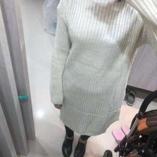 高領毛衣中長版開叉連身裙毛衣#我的女裝可超取