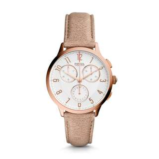 FOSSIL Ladies Chronograph Watch with Leather Strap CH3016