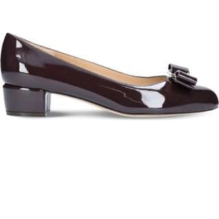 Ferragamo wine shoes 酒紅色低踭鞋