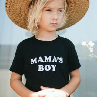 ✔️STOCK - CASUAL MAMA BOY BLACK TEE TSHIRT BABY TODDLER BOY CHILDREN  KIDS CLOTHING