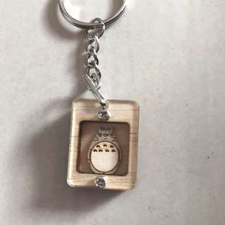 Totoro Wooden Keychain Ring