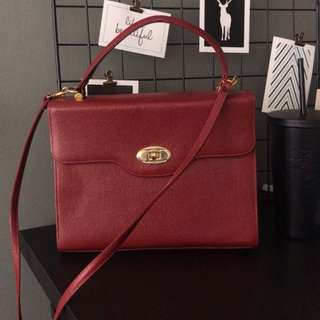 Burgundy Leather Square Bag