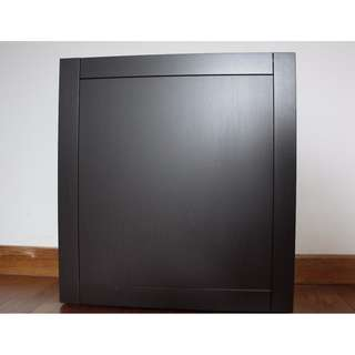 BESTÅ shelf unit with a glass shelf; black-brown