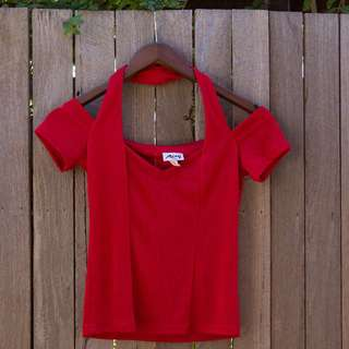 Vintage Red Cold Shoulder Top