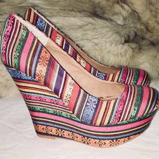 Pammy Fabric Wedges by Steve Madden, Colourful, Designer Heels, Antique Alchemy