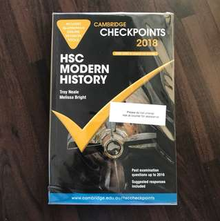 CAMBRIDGE CHECKPOINTS HSC Modern History 2018