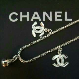 CC Style Silver Tone Bracelet With CC And Ringing Bell Pendant / Charm
