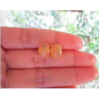 Yellow Gold Opal Earrings 14k