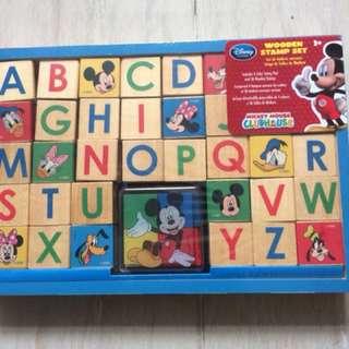 全新迪士尼英文字母印章全套Disney Wooden Stamp Set