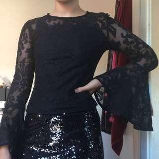 Bardot black mesh top