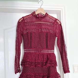 Lace Little Dress in Wine Red